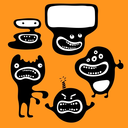 cartoon zombie: Set of monsters silhouettes with different emotions