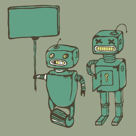 Two old vintage broken robots, vector Vector
