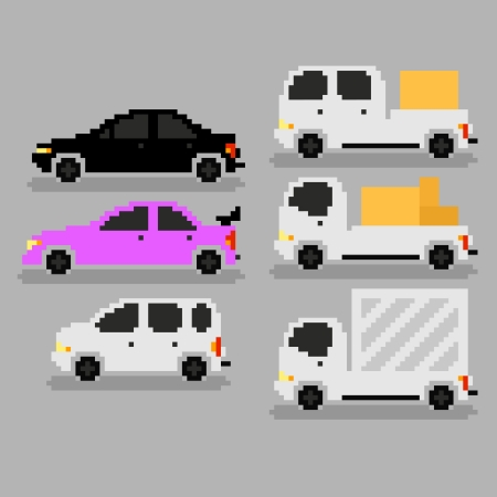 Set of different pixel art cars, vector illustration Vector