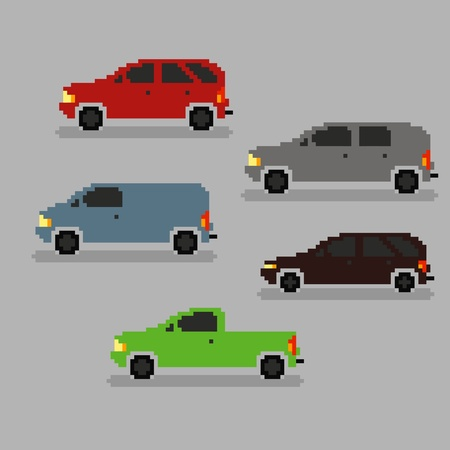 pixel art: Set of different pixel art cars, vector illustration