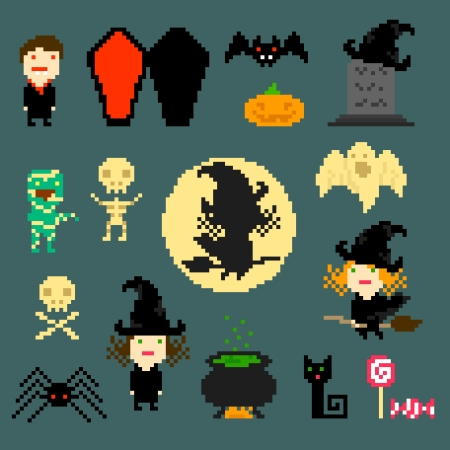 flying coffin: Set of pixel icons on halloween theme, vector