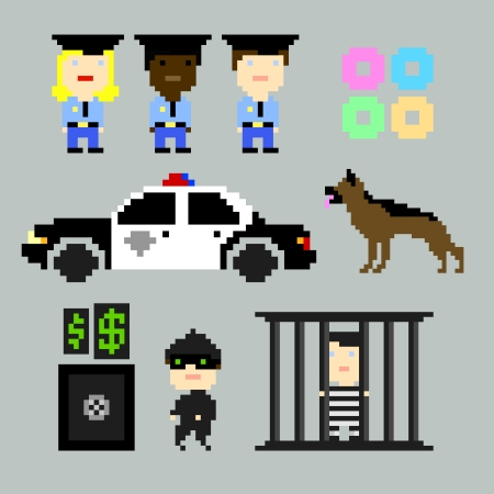 pixel art: Set of vector pixel icons on the police and crime theme