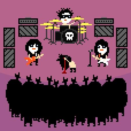 glam: Conjunto de iconos de tema negro banda de rock metal en el estilo pixel art, ilustraci�n vectorial