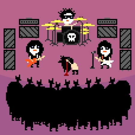 glam: Set of icons on black metal rock band theme in pixel art style, vector illustration