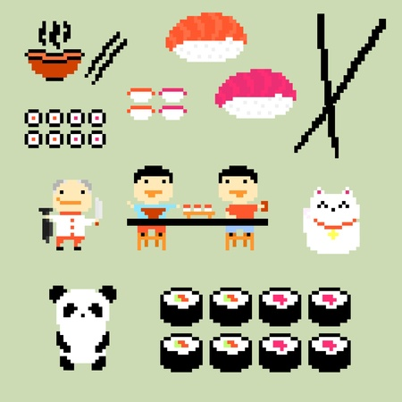 sushi plate: Set of pixel art icons on japanese food style, vector Illustration