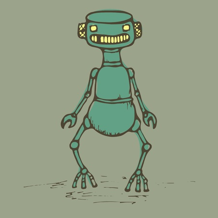 Old vintage robot staying alone, vector Vector
