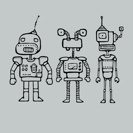 Cartoon outlines drawing with three robots, vector illustration Vector