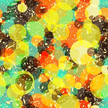 Seamless bright circles background with grungy noise, vector illustration Vector