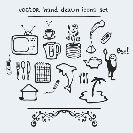 Set of multiple hand drawn icons, vector illustration Vector