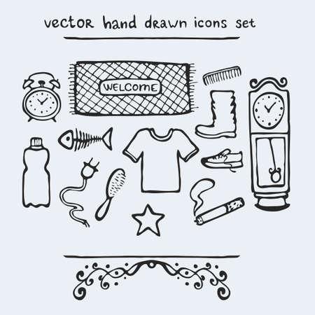 reloj de pendulo: Conjunto de iconos dibujados a mano múltiples, ilustración vectorial Vectores