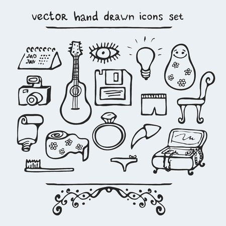 toilet paper art: Set of multiple hand drawn icons, vector illustration Illustration