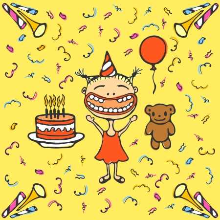 Happy smiling girl with birthday cake, bear, balloon and confetti, vector Vector