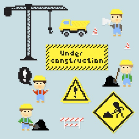 pixel art: Set of multiple pixel icons on construction theme, vector