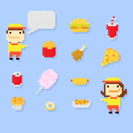 soup and salad: Set of multiple pixel icons on fast food theme, vector