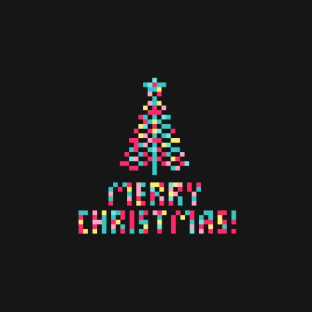 Pixel bright christmas tree, vector