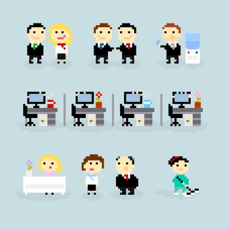 Set of pixel art icons, office life theme, vector Illustration