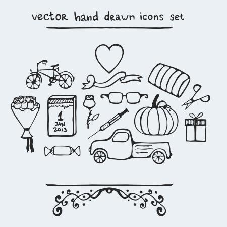 cartoon truck: Conjunto de iconos dibujados a mano m�ltiples, ilustraci�n vectorial Vectores