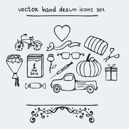 Set of multiple hand drawn icons, vector illustration Vettoriali