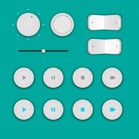 player controls: Set of buttons and switches for multimedia player  Illustration