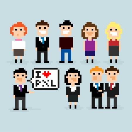 characters: Pixel art office people