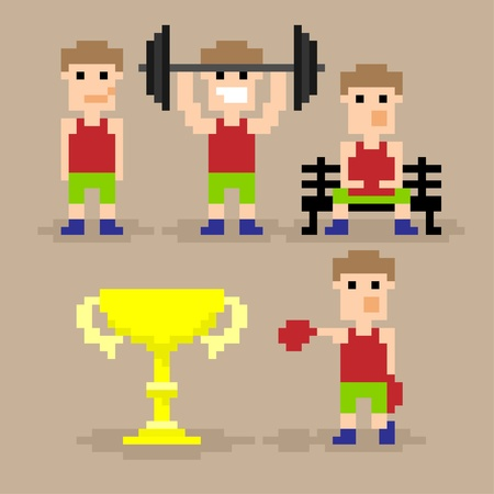Set of pixel art icons icons with sport guy