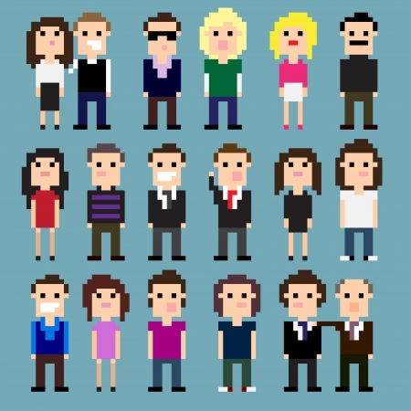 8 bit: Set of pixel art people icons, vector illustration
