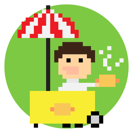 Pixel art hot dog seller with cart under umbrella, vector illustration Vector