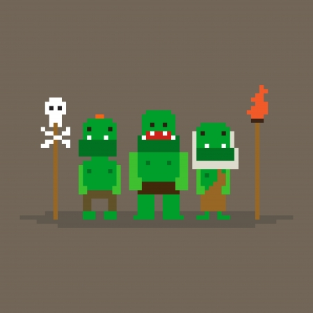 Three pixel art orcs game characters Vector