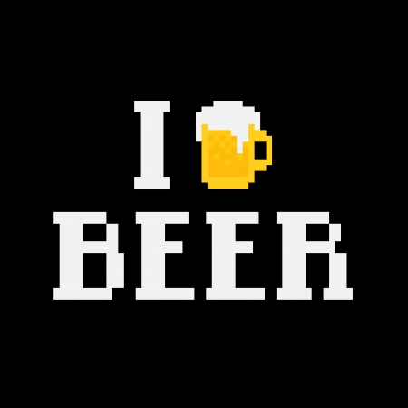 8 bit: Pixel art poster I love beer with mug and text Illustration