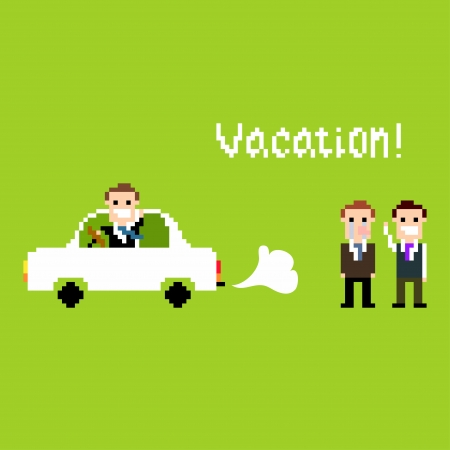 Pixel art scene with office people and person going away in car Vector