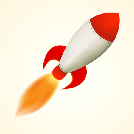ballistic: Isolated rocket, flying with flame, vector illustration Illustration