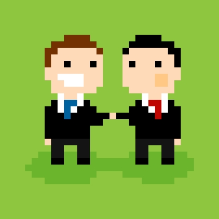 bit: Two pixel people in suits, shaking hands, vector illustration