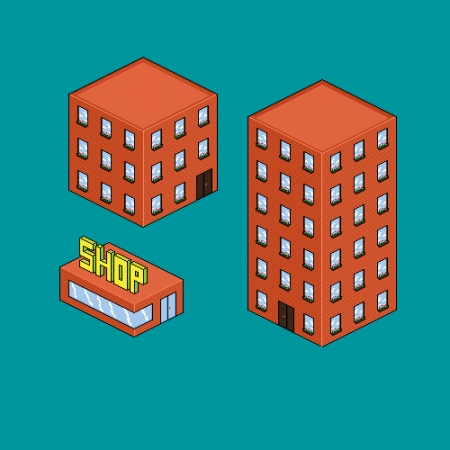 Three isometric pixel art brick buildings, houses and shop, vector illustration Illustration