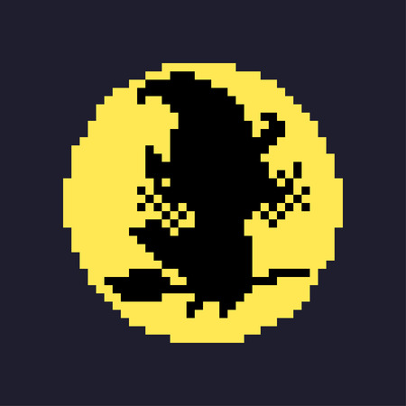 Pixel art witch silhouette on the moon isolated on dark background