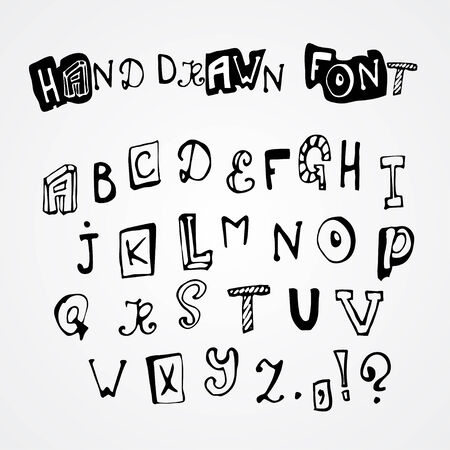 characterset: Hand drawn latin alphabet letters set, vector illustration