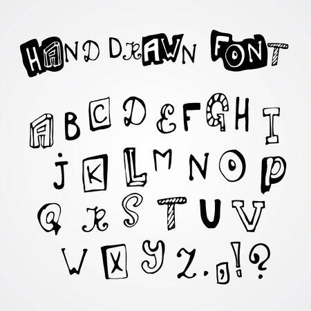 Hand drawn latin alphabet letters set, vector illustration