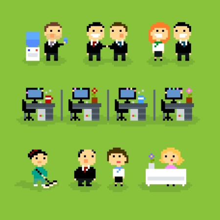 water cooler: Pixel Art icons with office people, vector illustration