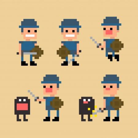 Pixel art swordsman warrior fighting against a monster, jumping and posing, vector illustration