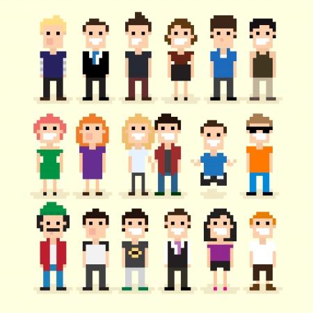 8 bit: Conjunto de diversas personas de p�xeles, ilustraci�n vectorial