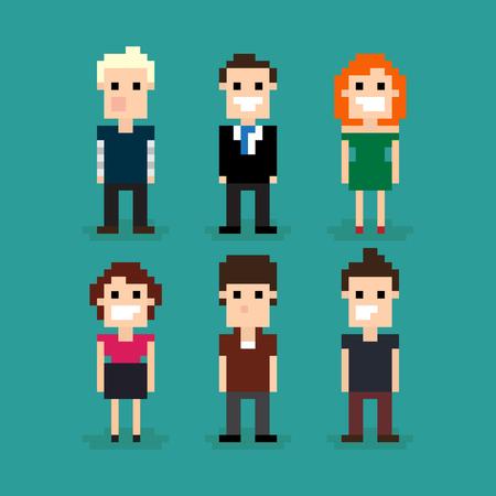 Set of different pixel people, vector illustration Vector
