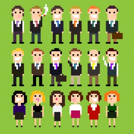 Set of pixel art office people in suits, vector illustration Vector