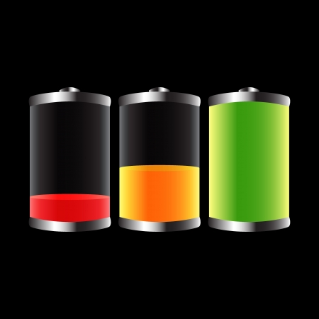 Set of three glossy batteries icons, vector illustration Vector