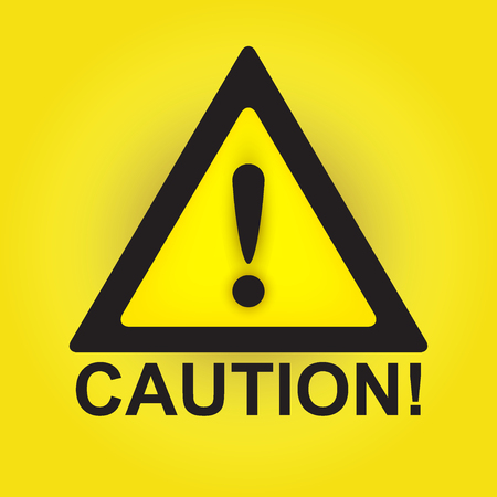 HAZARD SIGNS: Caution sign isolated on yellow background, vector illustration