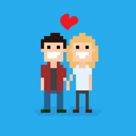 cute cartoon boy: Pixel art couple in love staying together, vector illustration Illustration