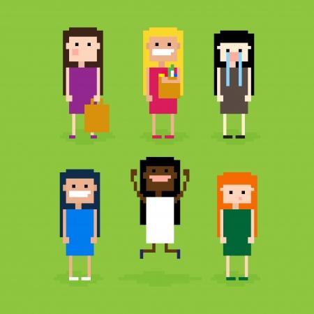Set of pixel art girls, showing different emotions, vector illustration Illustration