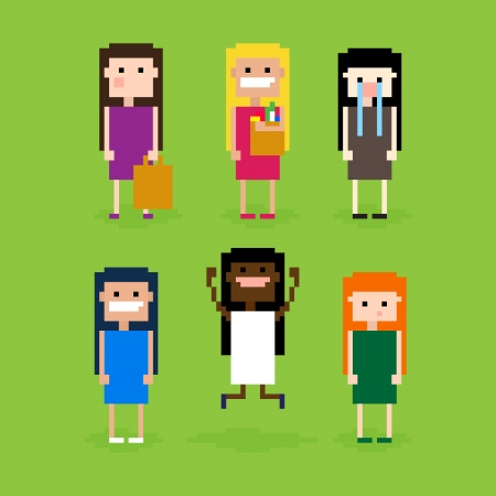Set of pixel art girls, showing different emotions, vector illustration Фото со стока - 25496129