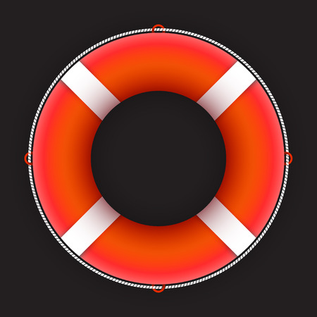 Red lifebuoy with white stripes isolated on dark background, vector illustration Vector