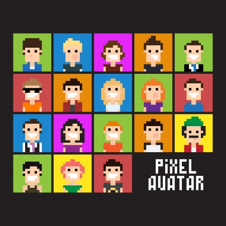 pixel art: Set of pixel people avatar, vector illustration