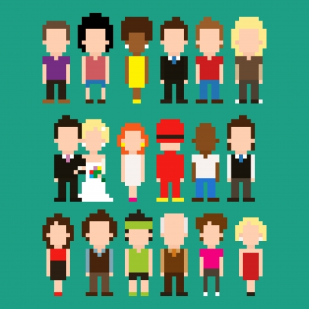 Set of pixel art people icons, vector illustration Vector