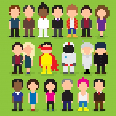 Set of pixel art people icons, vector illustration